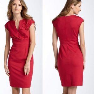 Trina Turk Cap Sleeve Red Ponte Sheath Dress